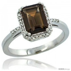 Sterling Silver Diamond Natural Smoky Topaz Ring 1.6 ct Emerald Shape 8x6 mm, 1/2 in wide -Style Cwg07129