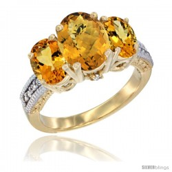 10K Yellow Gold Ladies 3-Stone Oval Natural Whisky Quartz Ring with Citrine Sides Diamond Accent