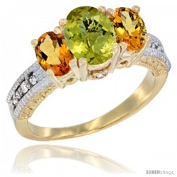 10K Yellow Gold Ladies Oval Natural Lemon Quartz 3-Stone Ring with Citrine Sides Diamond Accent
