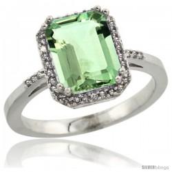 10k White Gold Diamond Green-Amethyst Ring 2.53 ct Emerald Shape 9x7 mm, 1/2 in wide