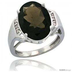 Sterling Silver Diamond Natural Smoky Topaz Ring 9.7 ct Large Oval Stone 16x12 mm, 5/8 in wide