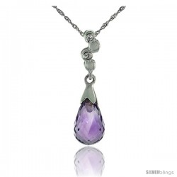 "10k White Gold Bubbles & Amethyst Pendant, w/ 0.02 Carat Brilliant Cut Diamonds, 7/8 in. (22mm) tall, w/ 18"" Sterling Silver"