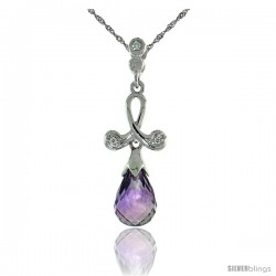 "10k White Gold Loop & Amethyst Pendant, w/ 0.02 Carat Brilliant Cut Diamonds, 1 1/16 in. (27mm) tall, w/ 18"" Sterling Silver"