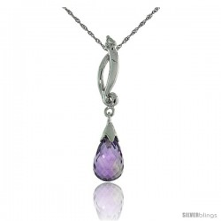 "10k White Gold Swirl & Amethyst Pendant, w/ 0.01 Carat Brilliant Cut Diamond, 1 1/8 in. (29mm) tall, w/ 18"" Sterling Silver"