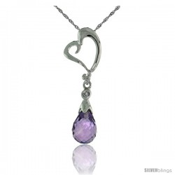 "10k White Gold Heart Cut Out & Amethyst Pendant, w/ Brilliant Cut Diamond, 1 1/8 in. (28mm) tall, w/ 18"" Sterling Silver"