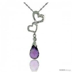 "10k White Gold Double Heart Cut Out & Amethyst Pendant, w/ Brilliant Cut Diamond, 1 3/16 in. (30mm) tall, w/ 18"" Sterling"