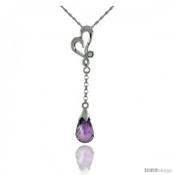 "10k White Gold Heart Cut Out & Amethyst Pendant, w/ 0.01 Carat Brilliant Cut Diamond, 1 3/8 in. (35mm) tall, w/ 18"" Sterling"