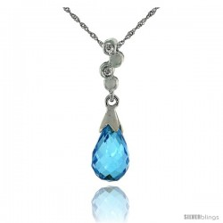 "10k White Gold Bubbles & Blue Topaz Pendant, w/ 0.02 Carat Brilliant Cut Diamonds, 7/8 in. (22mm) tall, w/ 18"" Sterling Silver"