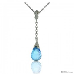"10k White Gold Dangle Blue Topaz Pendant, w/ 0.02 Carat Brilliant Cut Diamond, 1 1/8 in. (29mm) tall, w/ 18"" Sterling Silver"