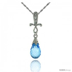 "10k White Gold Cross & Blue Topaz Pendant, w/ 0.01 Carat Brilliant Cut Diamonds, 1 in. (25mm) tall, w/ 18"" Sterling Silver"