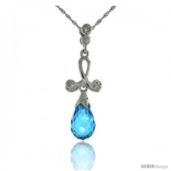 "10k White Gold Loop & Blue Topaz Pendant, w/ 0.02 Carat Brilliant Cut Diamonds, 1 1/16 in. (27mm) tall, w/ 18"" Sterling Silver"