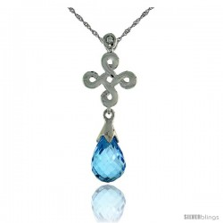"10k White Gold Infinity Cross Blue Topaz Pendant, w/ 0.01 Carat Brilliant Cut Diamond, 1 in. (26mm) tall, w/ 18"" Sterling"