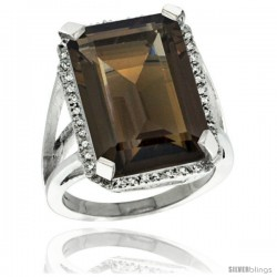 Sterling Silver Diamond Natural Smoky Topaz Ring 14.96 ct Emerald Shape 18x13 mm Stone, 13/16 in wide