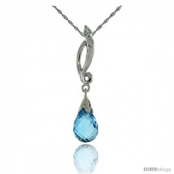 "10k White Gold Swirl & Blue Topaz Pendant, w/ 0.01 Carat Brilliant Cut Diamond, 1 1/8 in. (29mm) tall, w/ 18"" Sterling Silver"