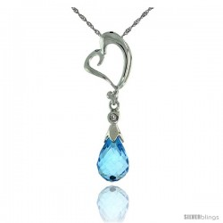 "10k White Gold Heart Cut Out & Blue Topaz Pendant, w/ Brilliant Cut Diamond, 1 1/8 in. (28mm) tall, w/ 18"" Sterling Silver"
