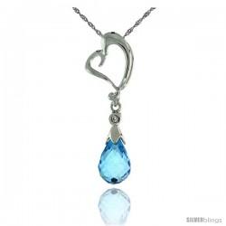 "10k White Gold Heart Cut Out & Blue Topaz Pendant, w/ Brilliant Cut Diamond, 1 1/8 in. (28mm) tall, w/ 18"" Sterling Silver"