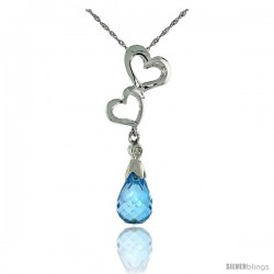 "10k White Gold Double Heart Cut Out & Blue Topaz Pendant, w/ Brilliant Cut Diamond, 1 3/16 in. (30mm) tall, w/ 18"" Sterling"