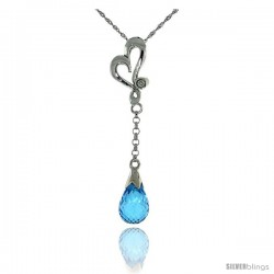 "10k White Gold Heart Cut Out & Blue Topaz Pendant, w/ 0.01 Carat Brilliant Cut Diamond, 1 3/8 in. (35mm) tall, w/ 18"" Sterling"