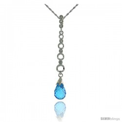 10k White Gold Graduated Circle Cut Outs & Blue Topaz Pendant, w/ 0.05 Carat Brilliant Cut Diamonds, 1 11/16 in. (43mm) tall