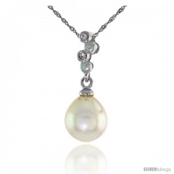 "10k White Gold Bubbles & Pearl Pendant, w/ 0.02 Carat Brilliant Cut Diamonds, 13/16 in. (21mm) tall, w/ 18"" Sterling Silver"