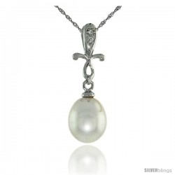 "10k White Gold Cross & Pearl Pendant, w/ 0.01 Carat Brilliant Cut Diamonds, 1 in. (25mm) tall, w/ 18"" Sterling Silver Singapore"
