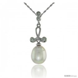 "10k White Gold Loop & Pearl Pendant, w/ 0.02 Carat Brilliant Cut Diamonds, 1 1/16 in. (27mm) tall, w/ 18"" Sterling Silver"