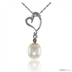 "10k White Gold Heart Cut Out & Pearl Pendant, w/ Brilliant Cut Diamond, 1 in. (26mm) tall, w/ 18"" Sterling Silver Singapore"