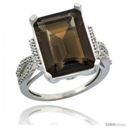 Sterling Silver Diamond Natural Smoky Topaz Ring 12 ct Emerald Shape 16x12 Stone 3/4 in wide