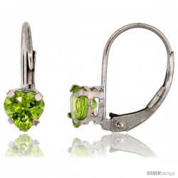 10k White Gold Natural Peridot Leverback Heart Earrings 5mm August Birthstone, 9/16 in tall