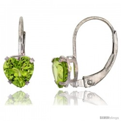 10k White Gold Natural Peridot Leverback Heart Earrings 6mm August Birthstone, 9/16 in tall