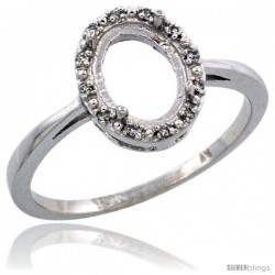 10k White Gold Semi-Mount ( 8x6 mm ) Oval Stone Ring w/ 0.007 Carat Brilliant Cut Diamonds, 7/16 in. (11mm) wide