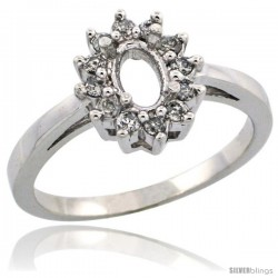 10k White Gold Semi-Mount ( 6x4 mm ) Oval Stone Ring w/ 0.212 Carat Brilliant Cut Diamonds, 7/16 in. (11mm) wide