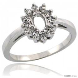 10k White Gold Semi-Mount ( 6x4 mm ) Oval Stone Ring w/ 0.212 Carat Brilliant Cut Diamonds, 7/16 in. (11mm) wide