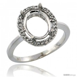 10k White Gold Semi-Mount ( 10x8 mm ) Oval Stone Ring w/ 0.067 Carat Brilliant Cut Diamonds, 17/32 in. (13.5mm) wide