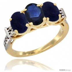 10K Yellow Gold Natural Blue Sapphire & Lapis Sides Ring 3-Stone Oval 7x5 mm Diamond Accent