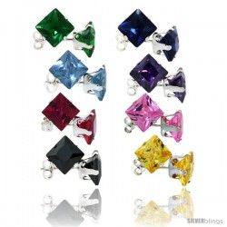 8 pair set Sterling Silver Square Colored Cubic Zirconia Stud Earrings 2 cttw Emerald, Blue Sapphire, Blue Topaz, Amethyst