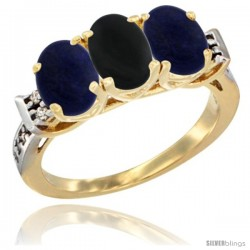 10K Yellow Gold Natural Black Onyx & Lapis Sides Ring 3-Stone Oval 7x5 mm Diamond Accent