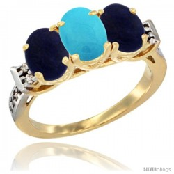 10K Yellow Gold Natural Turquoise & Lapis Sides Ring 3-Stone Oval 7x5 mm Diamond Accent