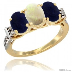 10K Yellow Gold Natural Opal & Lapis Sides Ring 3-Stone Oval 7x5 mm Diamond Accent