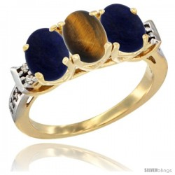 10K Yellow Gold Natural Tiger Eye & Lapis Sides Ring 3-Stone Oval 7x5 mm Diamond Accent