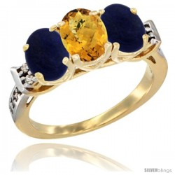 10K Yellow Gold Natural Whisky Quartz & Lapis Sides Ring 3-Stone Oval 7x5 mm Diamond Accent