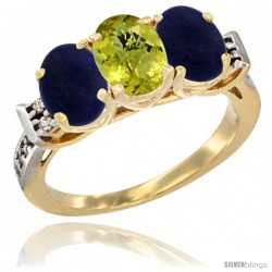 10K Yellow Gold Natural Lemon Quartz & Lapis Sides Ring 3-Stone Oval 7x5 mm Diamond Accent