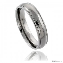 Titanium 6mm Domed Wedding Band Ring Raised Edges Comfort-fit