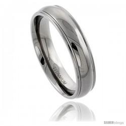 Titanium 6mm Domed Wedding Band Ring Raised Edges Comfort-fit