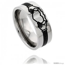 Titanium 9mm Flat Wedding Band Ring Claddagh Pattern Comfort-fit