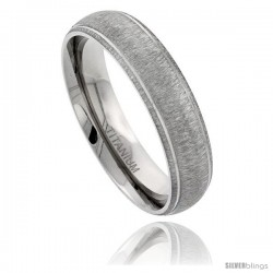 Titanium 6mm Domed Wedding Band Ring Matte Finish Grooved Polished Edges Comfort-fit