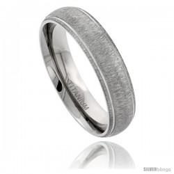 Titanium 6mm Domed Wedding Band Ring Matte Finish Grooved Polished Edges Comfort-fit