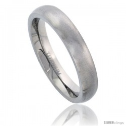 Titanium 4mm Comfort-fit Domed Wedding Band / Thumb Ring Matte Finish Comfort-fit