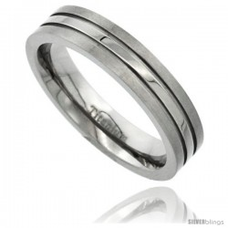 Titanium 5mm Titanium Flat Wedding Band Ring Stripe Center Comfort-fit