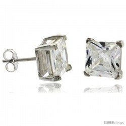 Sterling Silver Princess cut Cubic Zirconia Stud Earrings Basket Setting 8 mm 6 cttw
